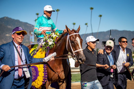 Stuart Grant, jockey Javier Castellano riding Breeders Cup champion British Idiom, British Idiom's Groom Steve Cohen, and Sol Kumin.
